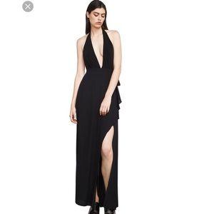 BCBG Angeline Black High Slit Halter Gown Sz Small